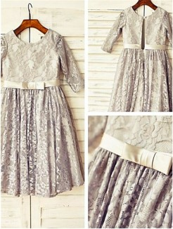 A-line/Princess Scoop 3/4 Sleeves Tea-Length Lace Flower Girl Dresses