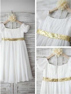 A-line/Princess Bateau Short Sleeves Beading Tea-Length Chiffon Flower Girl Dresses