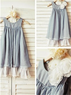 A-line/Princess Scoop Sleeveless Ruffles Tea-Length Chiffon Flower Girl Dresses
