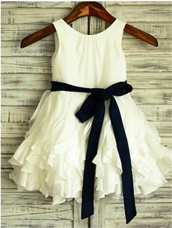 A-line/Princess Scoop Sleeveless Bowknot Tea-Length Taffeta Flower Girl Dresses
