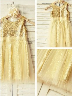 A-line/Princess Scoop Sleeveless Ruffles Tea-Length Sequins Flower Girl Dresses