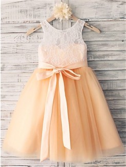 A-line/Princess Sleeveless Scoop Sash/Ribbon/Belt Tea-Length Tulle Flower Girl Dresses
