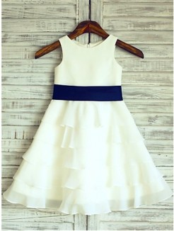 A-line/Princess Sleeveless Scoop Ruffles Tea-Length Chiffon Flower Girl Dresses