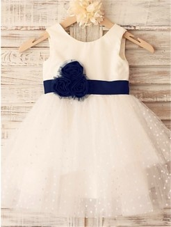 A-line/Princess Sleeveless Scoop Hand-made Flower Tea-Length Organza Flower Girl Dresses