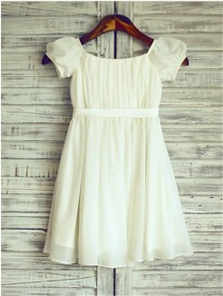A-line/Princess Square Short Sleeves Ruched Tea-Length Chiffon Flower Girl Dresses