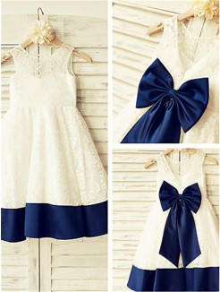 A-line/Princess Sleeveless Scoop Bowknot Tea-Length Lace Flower Girl Dresses