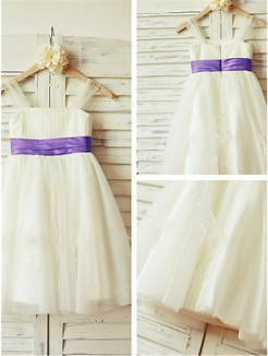 A-line/Princess Straps Sleeveless Ruffles Tea-Length Tulle Flower Girl Dresses