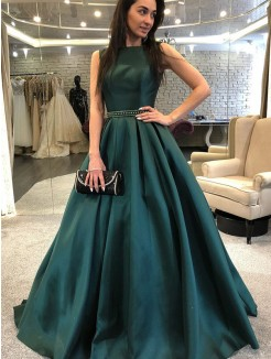 A-Line/Princess Sweep/Brush Train Sleeveless Beading Satin Dresses