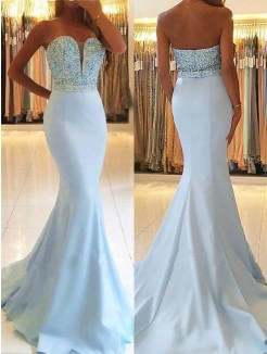Trumpet/Mermaid Sweep/Brush Train Sleeveless Sweetheart Beading Satin Dresses