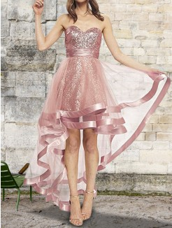 A-Line/Princess Sleeveless Sweetheart Sequin Asymmetrical Organza Dresses