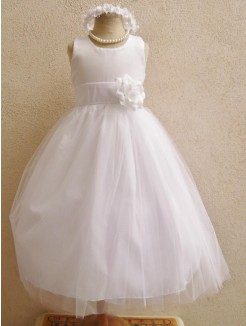 Ball Gown Sleeveless Floor-length Tulle Scoop Sash/Ribbon/Belt Flower Girl Dresses