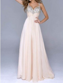 A line Princess Beading Sweetheart Straps Floor Length Chiffon Dress