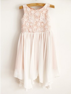 A-Line/Princess Chiffon Lace Sleeveless Scoop Knee-Length Flower Girl Dresses