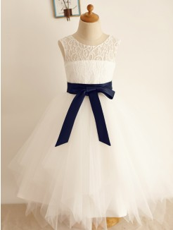 A-Line/Princess Tulle Bowknot Sleeveless Scoop Tea-Length Flower Girl Dresses