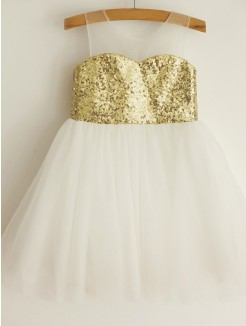A-Line/Princess Scoop Sequin Sleeveless Tulle Knee-Length Flower Girl Dresses