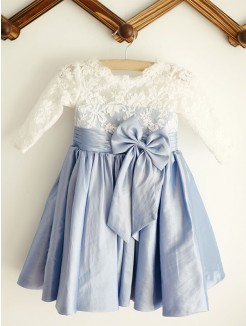 A-Line/Princess Scoop Lace Long Sleeves Taffeta Knee-Length Flower Girl Dresses