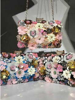 Trending Beading Party Handbags With Flowers