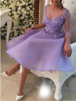 Knee-Length A-Line/Princess V-neck 3/4 Sleeves Organza Dresses