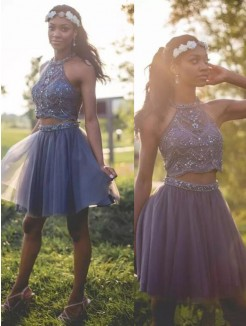 Short/Mini A-Line/Princess Halter Sleeveless Tulle Dresses