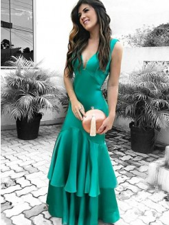 Sheath/Column V-neck Sleeveless Floor-Length Ruffles Satin Dress
