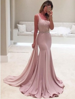 Trumpet/Mermaid Sleeveless One-Shoulder Sweep/Brush Train Ruffles Chiffon Dress