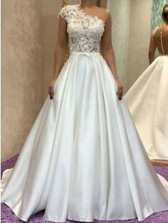 A-Line/Princess One-Shoulder Lace Sleeveles Sweep/Brush Train Satin Wedding Dress