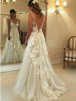 A-Line/Princess V-neck Sleeveless Sweep/Brush Train Applique Tulle Wedding Dress
