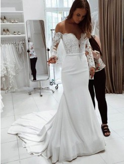 Trumpet/Mermaid Off-the-Shoulder Long Sleeves Court Train Lace Chiffon Wedding Dress