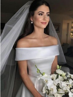 A-Line/Princess Off-the-Shoulder Sleeveless Ruffles Satin Sweep/Brush Train Wedding Dress