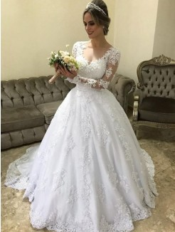 Ball Gown V-neck Long Sleeves Applique Satin Sweep/Brush Train Wedding Dress