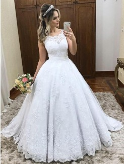 Ball Gown Scoop Sleeveless Lace Satin Sweep/Brush Train Wedding Dress