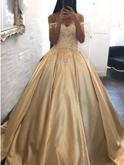 Ball Gown Off-the-Shoulder Sleeveless Applique Satin Sweep/Brush Train Dress