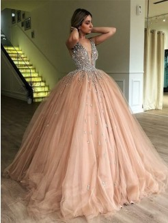 Ball Gown V-neck Sleeveless Sweep/Brush Train Beading Tulle Dress
