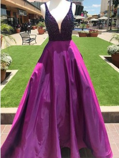 A-Line/Princess V-neck Sleeveless Floor-Length Beading Satin Dress