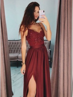 A-Line/Princess V-neck Sleeveless Floor-Length Lace Silk like Satin Dress