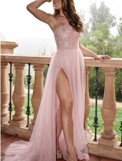 A-Line/Princess Sleeveless One-Shoulder Sweep/Brush Train Beading Tulle Dress