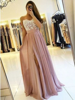 A-Line/Princess Sleeveless Spaghetti Straps Applique Chiffon Floor-Length Dress