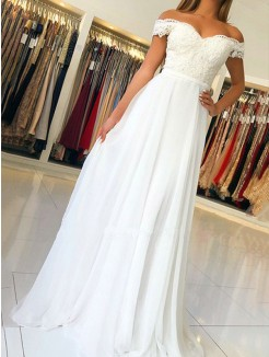 A-Line/Princess Sleeveless Off-the-Shoulder Applique Chiffon Floor-Length Dress
