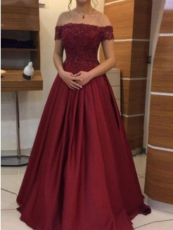 Ball Gown Off-the-Shoulder Sleeveless Floor-Length Applique Satin Dress