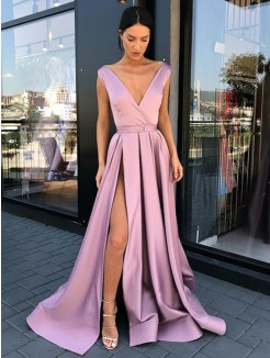 A-Line/Princess V-neck Sleeveless Floor-Length Ruffles Satin Dresses