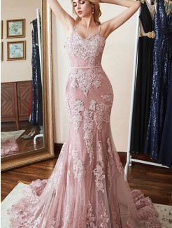 Trumpet/Mermaid Sleeveless Spaghetti Straps Sweep/Brush Train Lace Applique Dresses