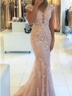 Trumpet/Mermaid V-neck Sleeveless Sweep/Brush Train Lace Applique Dresses
