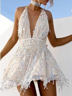 A-Line/Princess Lace Beading Halter Sleeveless Short/Mini Dresses