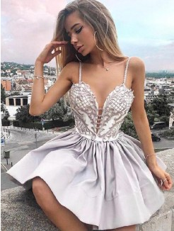 A-Line/Princess Satin Applique Spaghetti Straps Sleeveless Short/Mini Dresses
