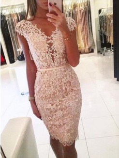 Sheath/Column Lace V-neck Sleeveless Knee-Length Short Dresses