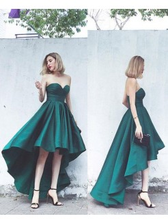 A-Line/Princess Satin Ruffles Sweetheart Sleeveless Asymmetrical Dresses