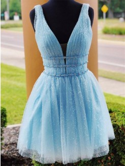 A-Line/Princess Tulle Beading V-neck Sleeveless Short/Mini Dresses