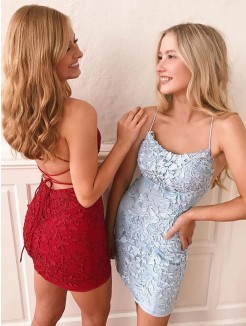 Sheath/Column Lace Applique Spaghetti Straps Sleeveless Short/Mini Dresses