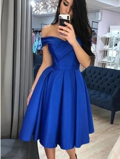 A-Line/Princess Satin Ruffles Off-the-Shoulder Sleeveless Knee-Length Dresses