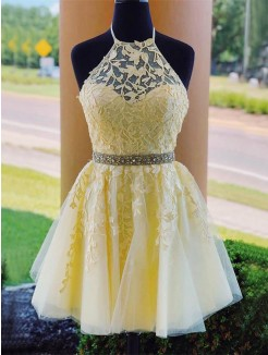 A-Line/Princess Tulle Halter Sleeveless Applique Short/Mini Dresses